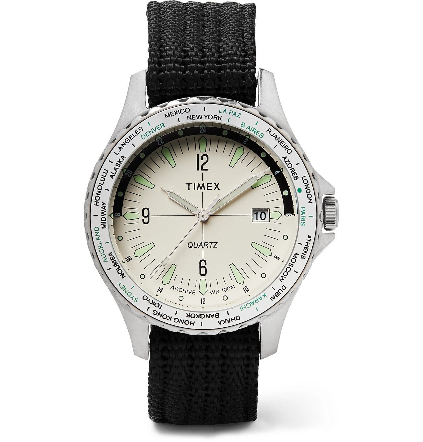 Photo: Timex - Archive Navi World Time 38mm Stainless Steel and Nylon-Webbing Watch - White