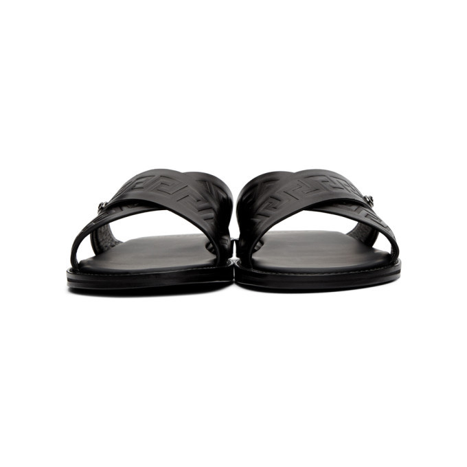 Versace Black Leather Medusa Sandals