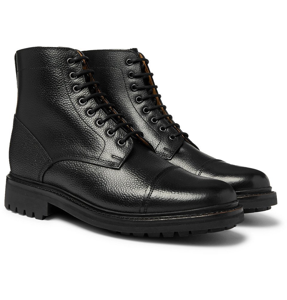 Photo: Grenson - Joseph Cap-Toe Pebble-Grain Leather Boots - Black