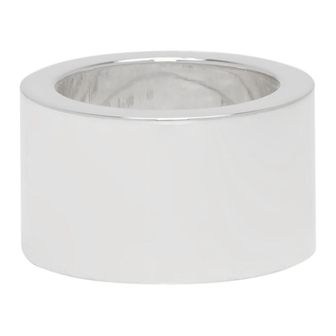 Bottega Veneta Silver Medium Flat Ring