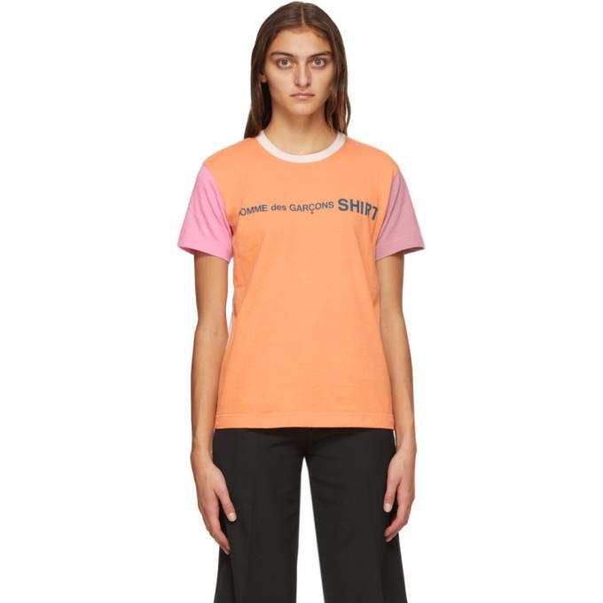 Photo: Comme des Garcons Shirt Pink and Orange Colorblock Logo T-Shirt