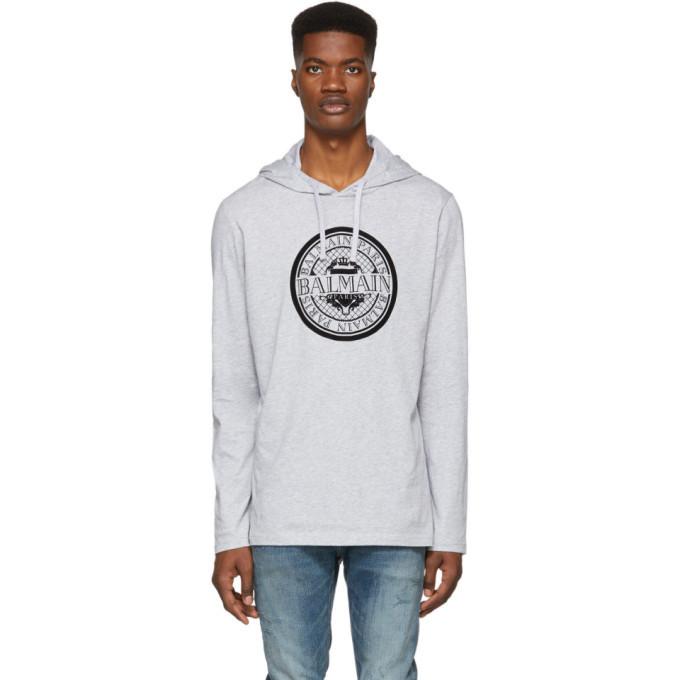 Photo: Balmain Grey Coin Logo Hoodie