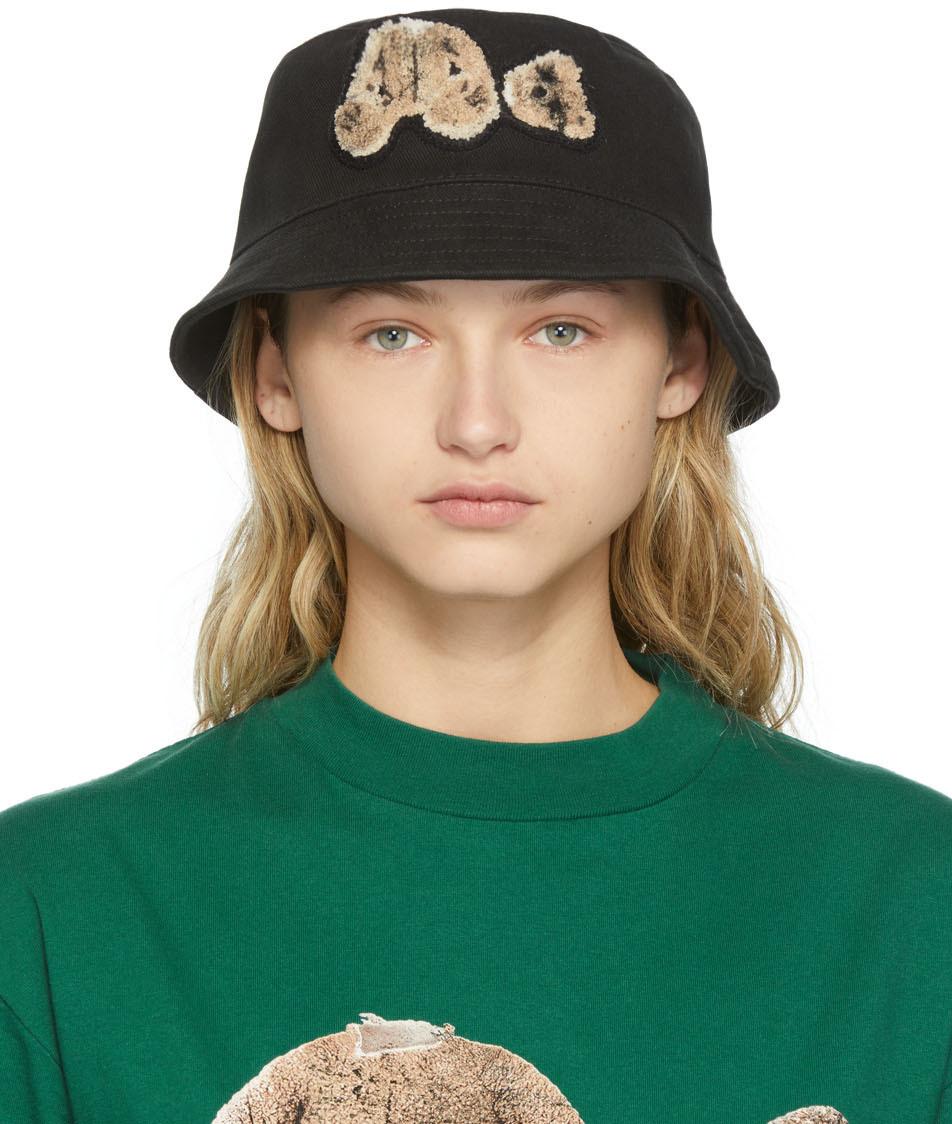 Photo: Palm Angels Black Sprayed Bear Bucket Hat