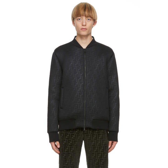 Photo: Fendi Black Forever Fendi Embossed Bomber Jacket