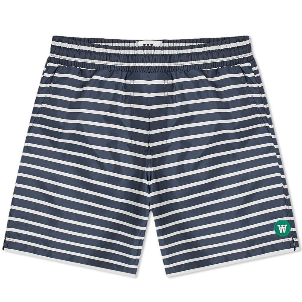 Wood Wood Roy Swim Short Navy & Off White Stripe
