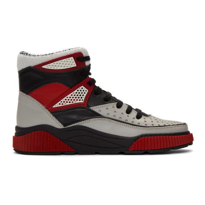 Photo: Balmain Grey and Black Kery High-Top Sneakers