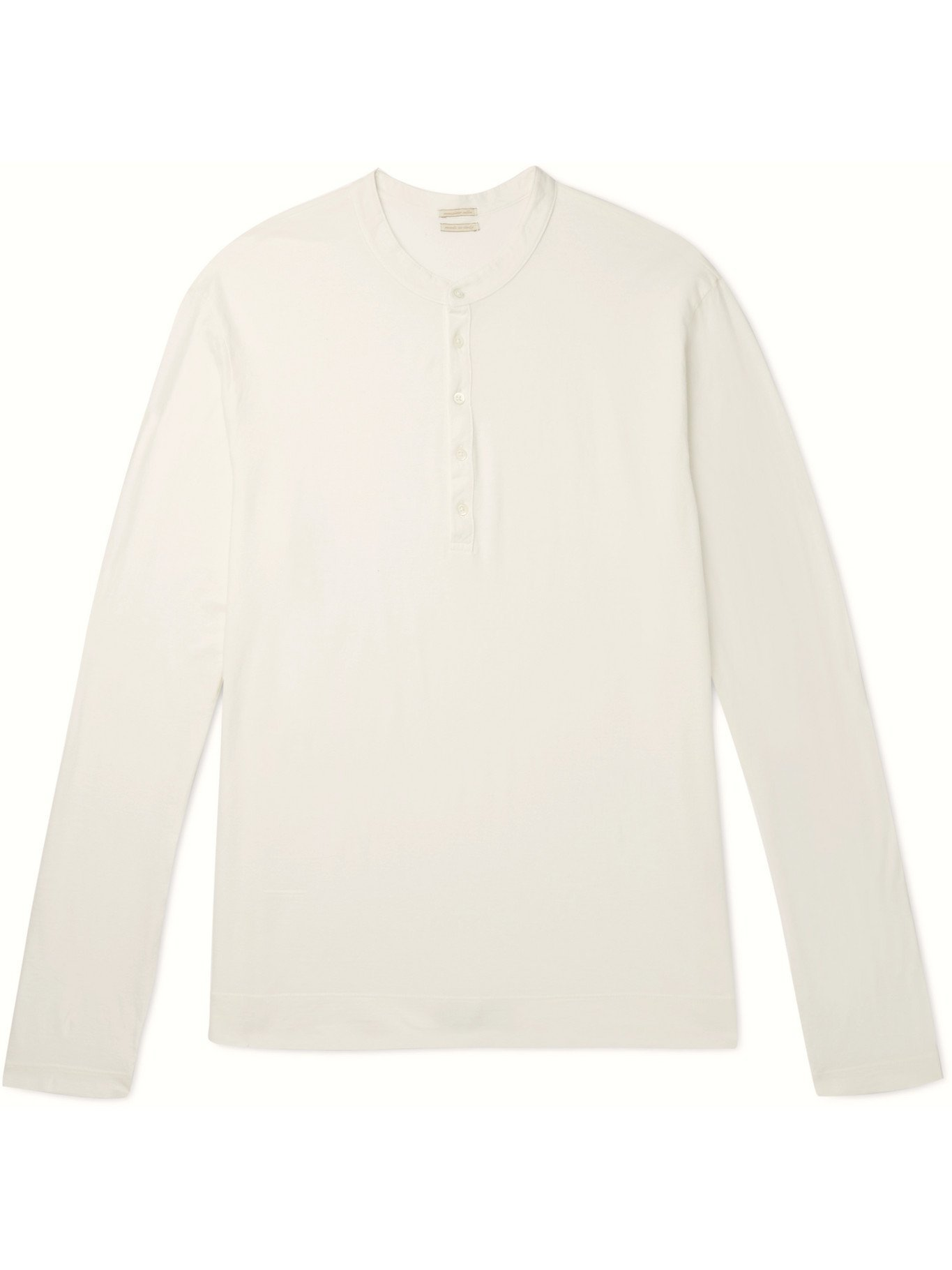 Photo: MASSIMO ALBA - Hawai Watercolour-Dyed Cotton-Jersey Henley T-Shirt - White - S