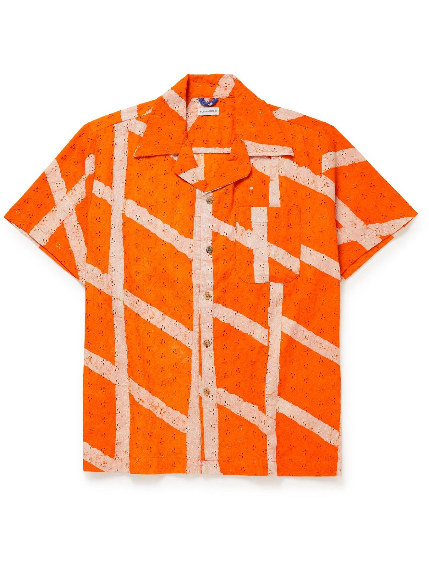 Photo: Post-Imperial - Ijebu Camp-Collar Checked Broderie Anglaise Cotton Shirt - Orange