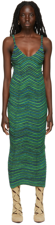 Photo: ISA BOULDER SSENSE Exclusive Green & Blue Bodycurl Long Dress