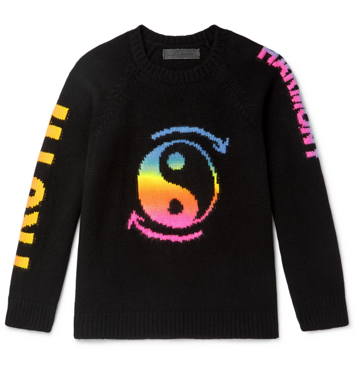 Photo: The Elder Statesman - Intarsia Cashmere Sweater - Black