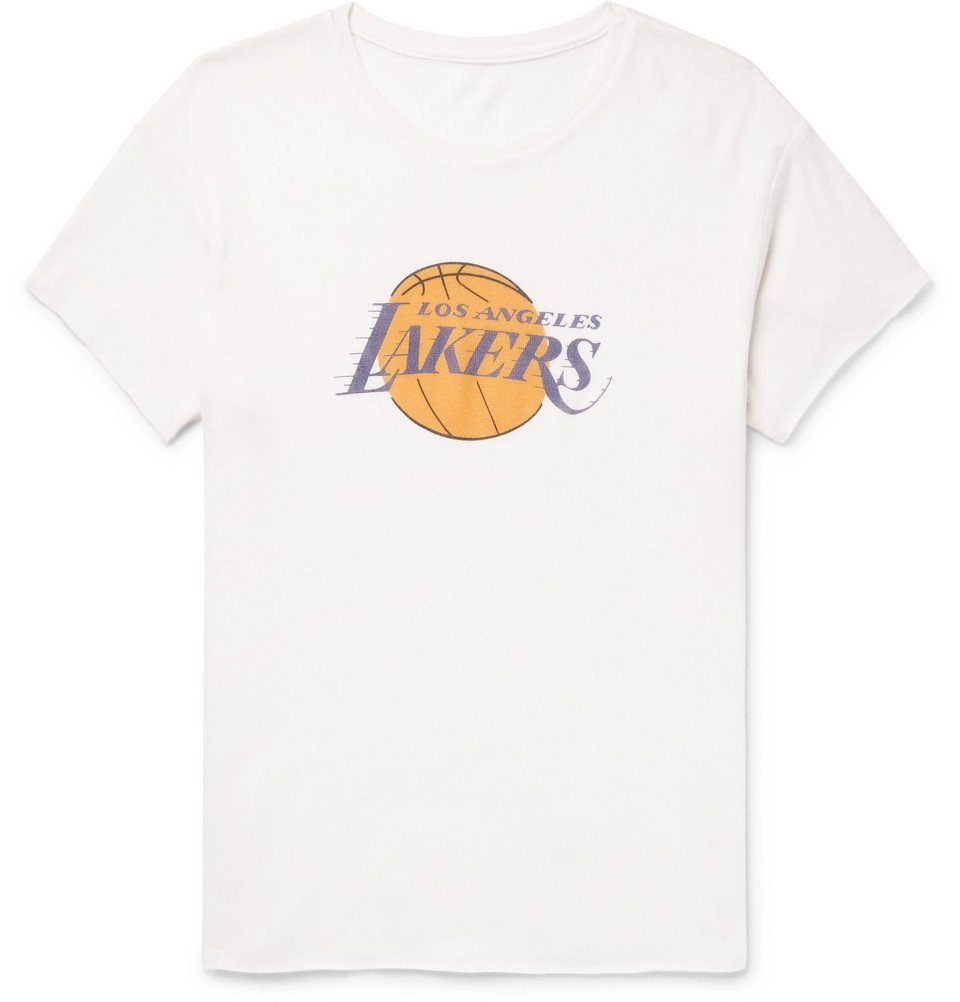 Photo: The Elder Statesman - NBA Los Angeles Lakers Printed Cashmere and Silk-Blend T-Shirt - Off-white
