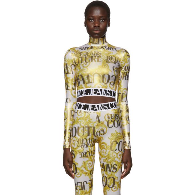 Versace Jeans Couture Gold Metallic Barocco Crop Turtleneck