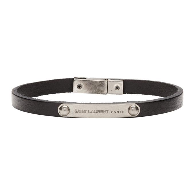 Photo: Saint Laurent Black ID Plaque Bracelet