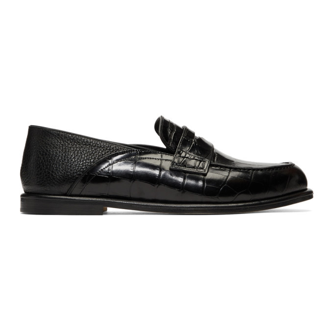 Photo: Loewe Black Croc Convertible Loafers