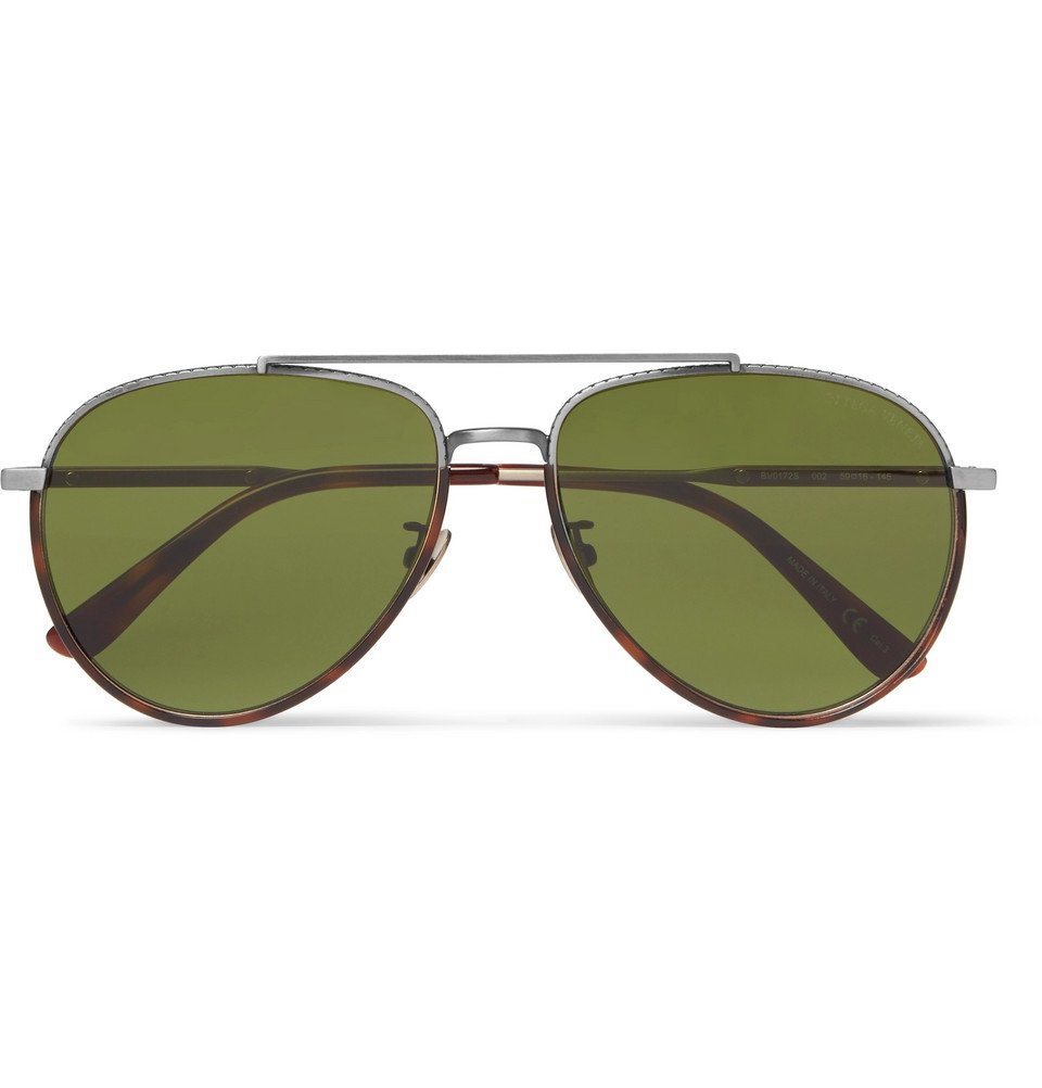 Photo: Bottega Veneta - Aviator-Style Tortoiseshell Acetate and Silver-Tone Sunglasses - Men - Brown