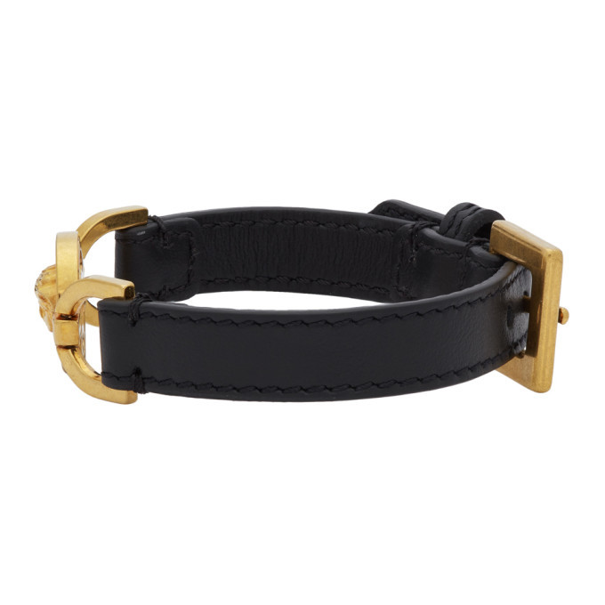 Versace Black and Gold Calfskin Medusa Bracelet