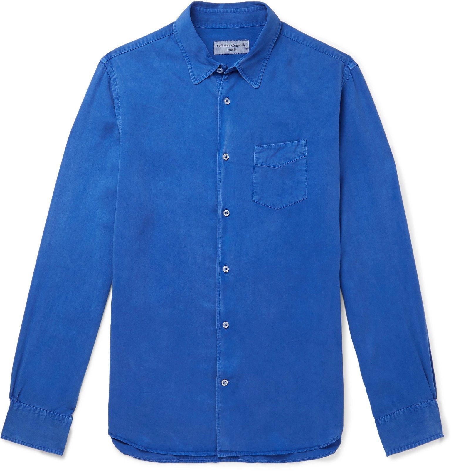 Photo: Officine Generale - Benoit Pigment-Dyed Lyocell Shirt - Blue