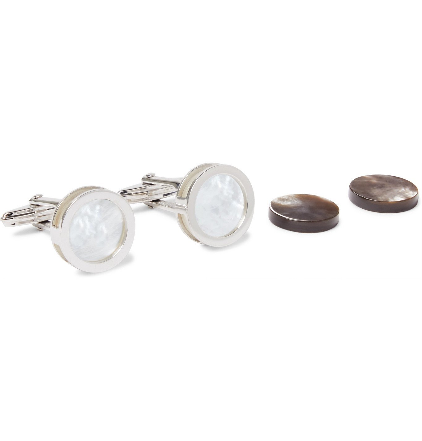 Photo: Lanvin - Rhodium-Plated Mother-of-Pearl Cufflinks - Silver