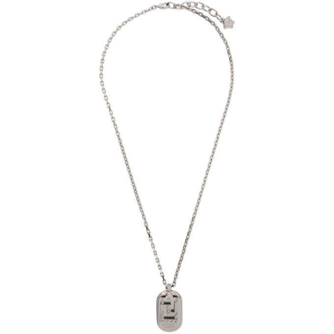 Photo: Versace Silver Greca Dogtag Necklace