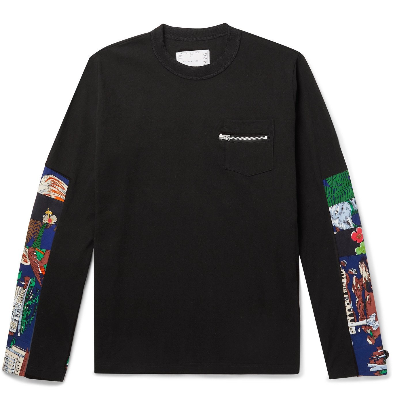 Sacai - Printed Poplin-Panelled Cotton-Jersey T-Shirt - Black