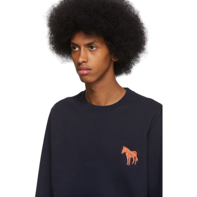 PS by Paul Smith Navy Embroidered Zebra Sweatshirt
