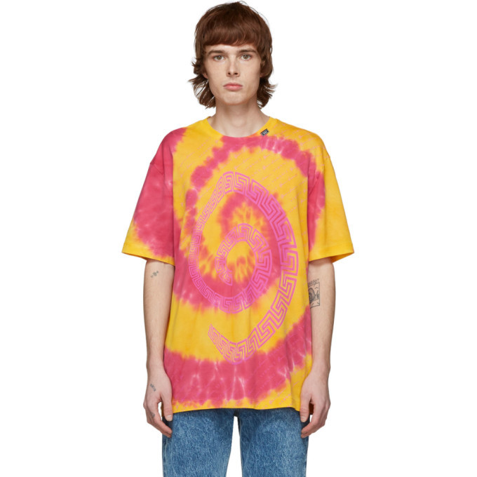 Photo: Versace Orange and Pink Tie-Dye T-Shirt