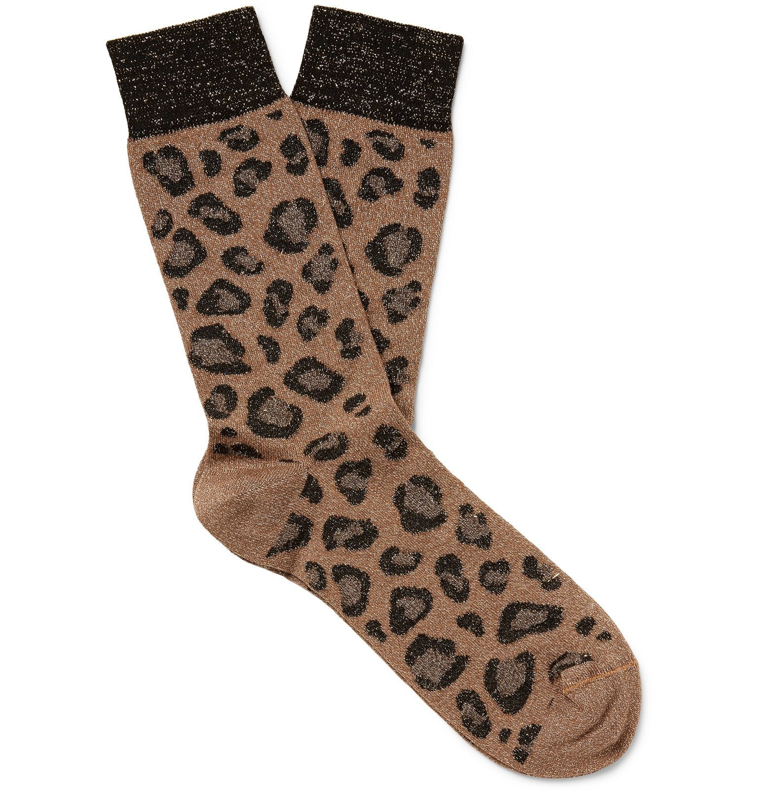 Photo: Versace - Leopard-Jacquard Cotton Socks - Brown