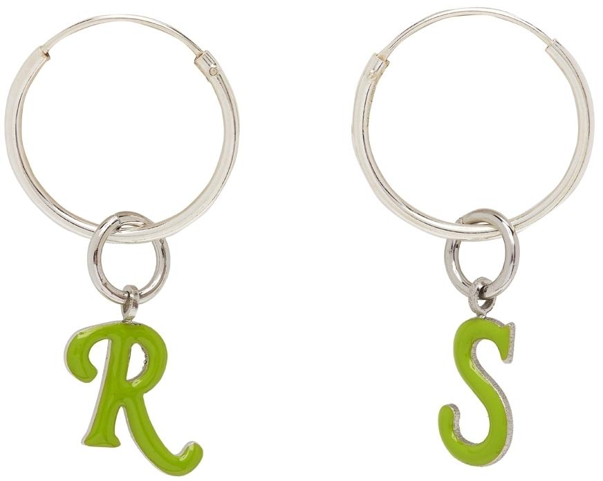 Photo: Raf Simons Silver & Green Logo Earrings