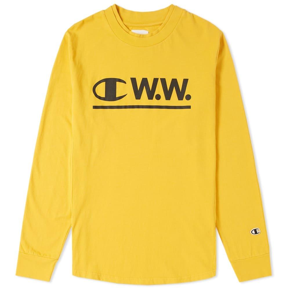 Photo: Champion x Wood Wood Long Sleeve Logo Tee Yellow