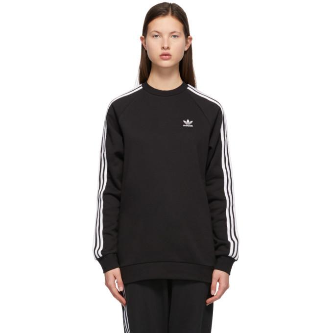 Photo: adidas Originals Black Adicolor 3-Stripes Sweatshirt
