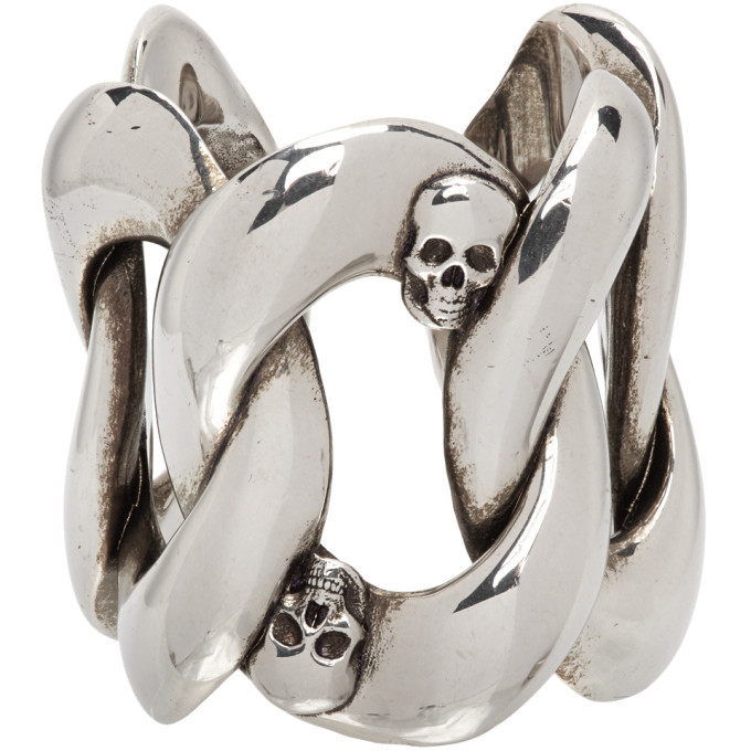 Photo: Alexander McQueen Silver Chain and Skull Ring