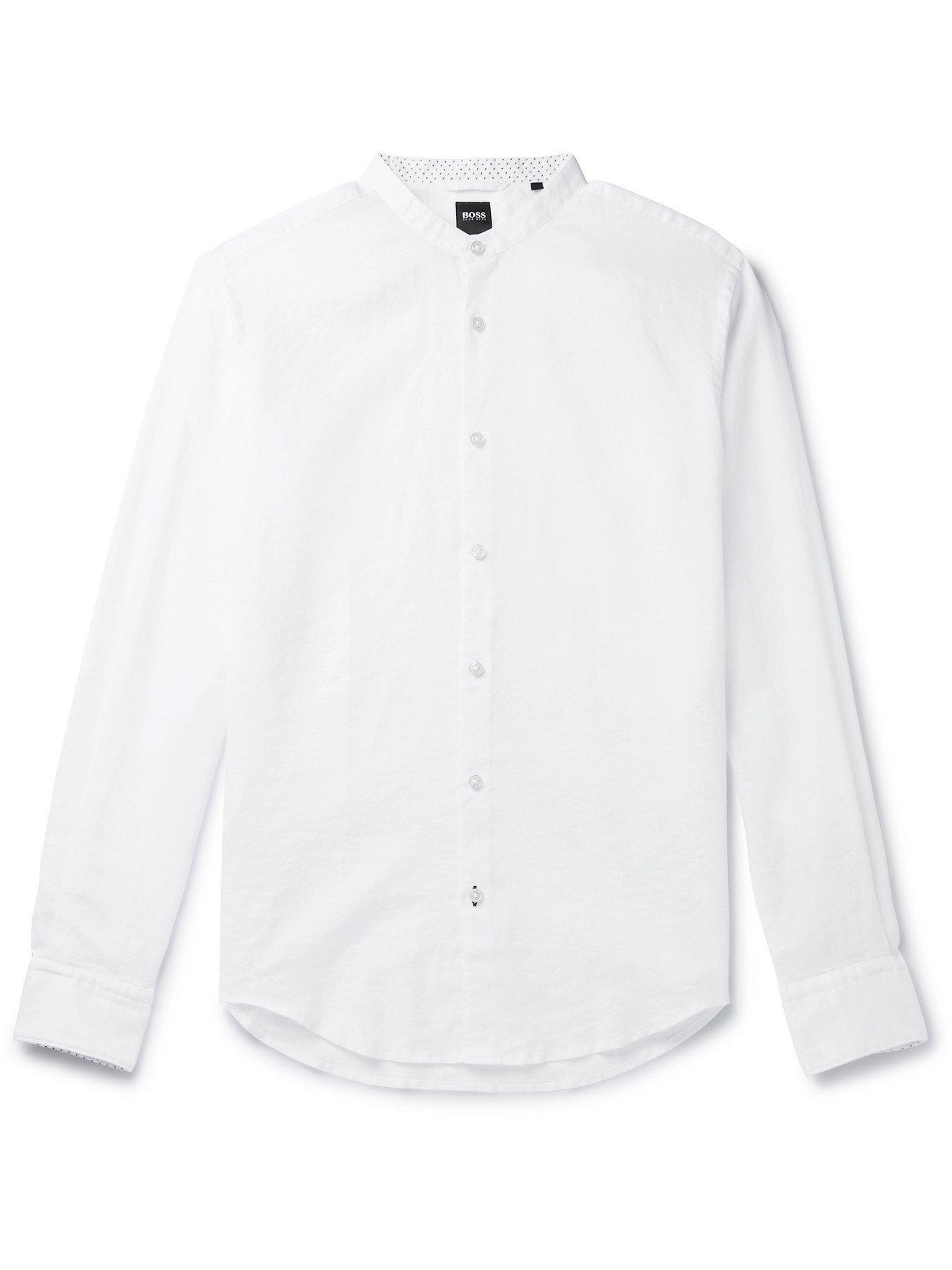 HUGO BOSS - Slim-Fit Grandad-Collar Linen-Blend Shirt - White