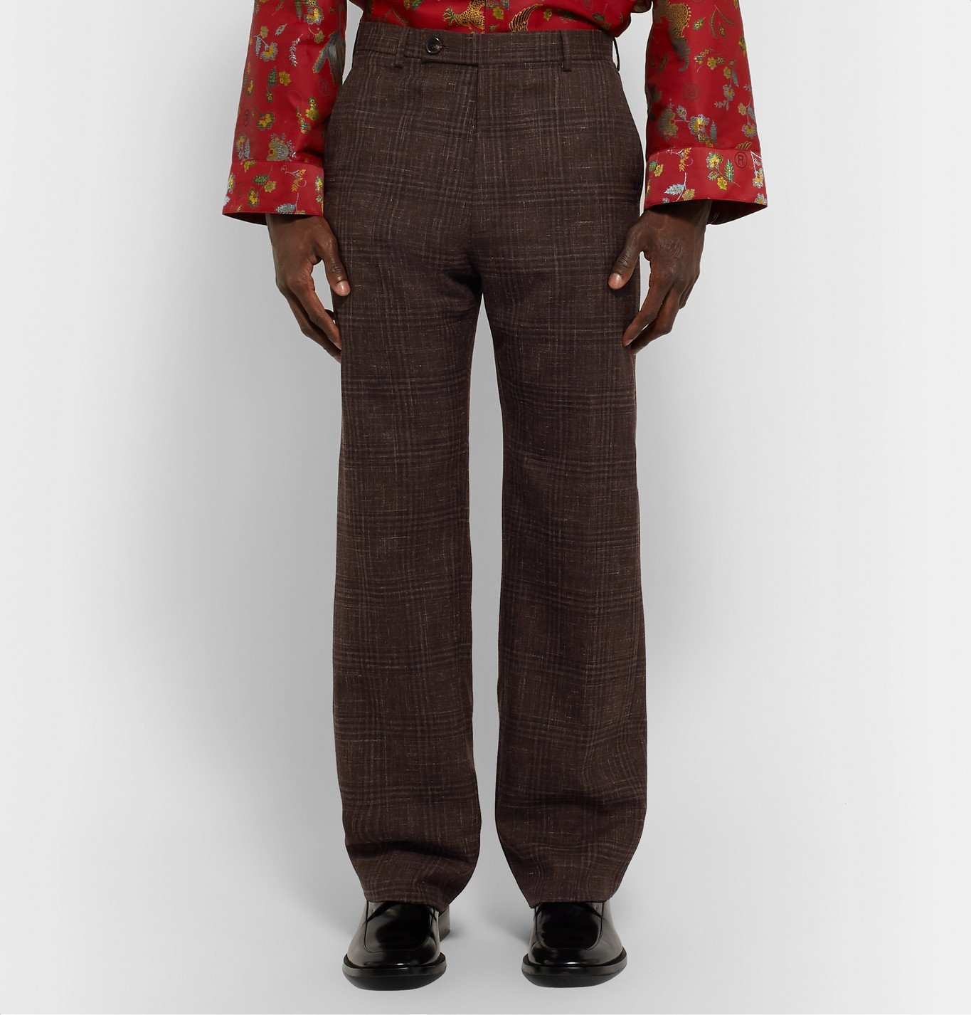 Martine Rose - Prince of Wales Checked Virgin Wool and Linen-Blend Suit Trousers - Brown