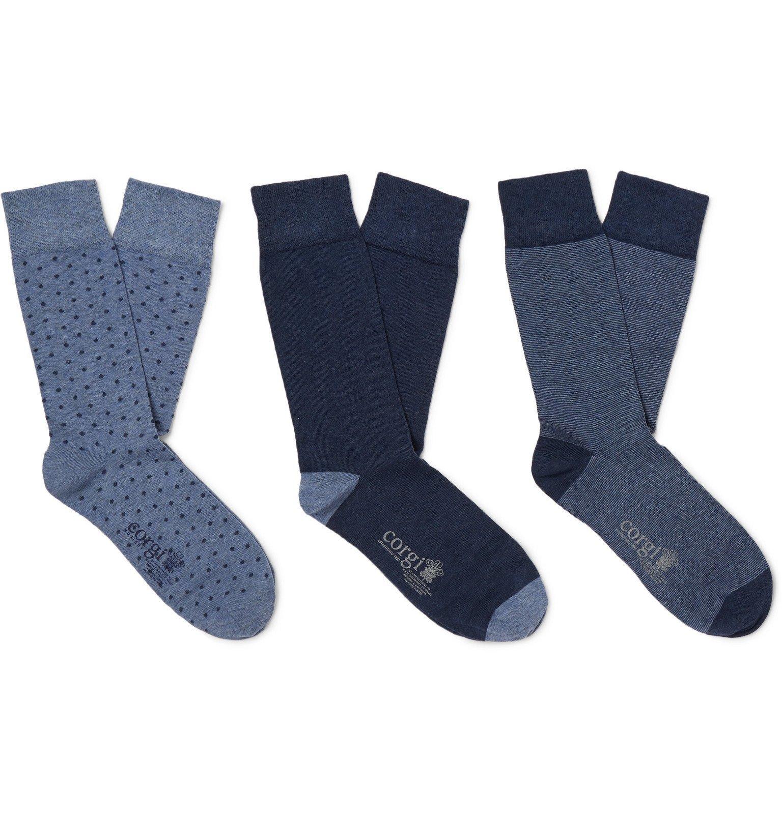 Photo: Kingsman - Corgi Three-Pack Cotton-Blend Socks - Blue