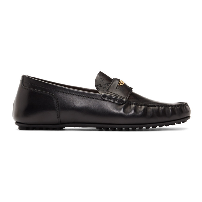 Photo: Versace Black Medusa Greek Key Loafers