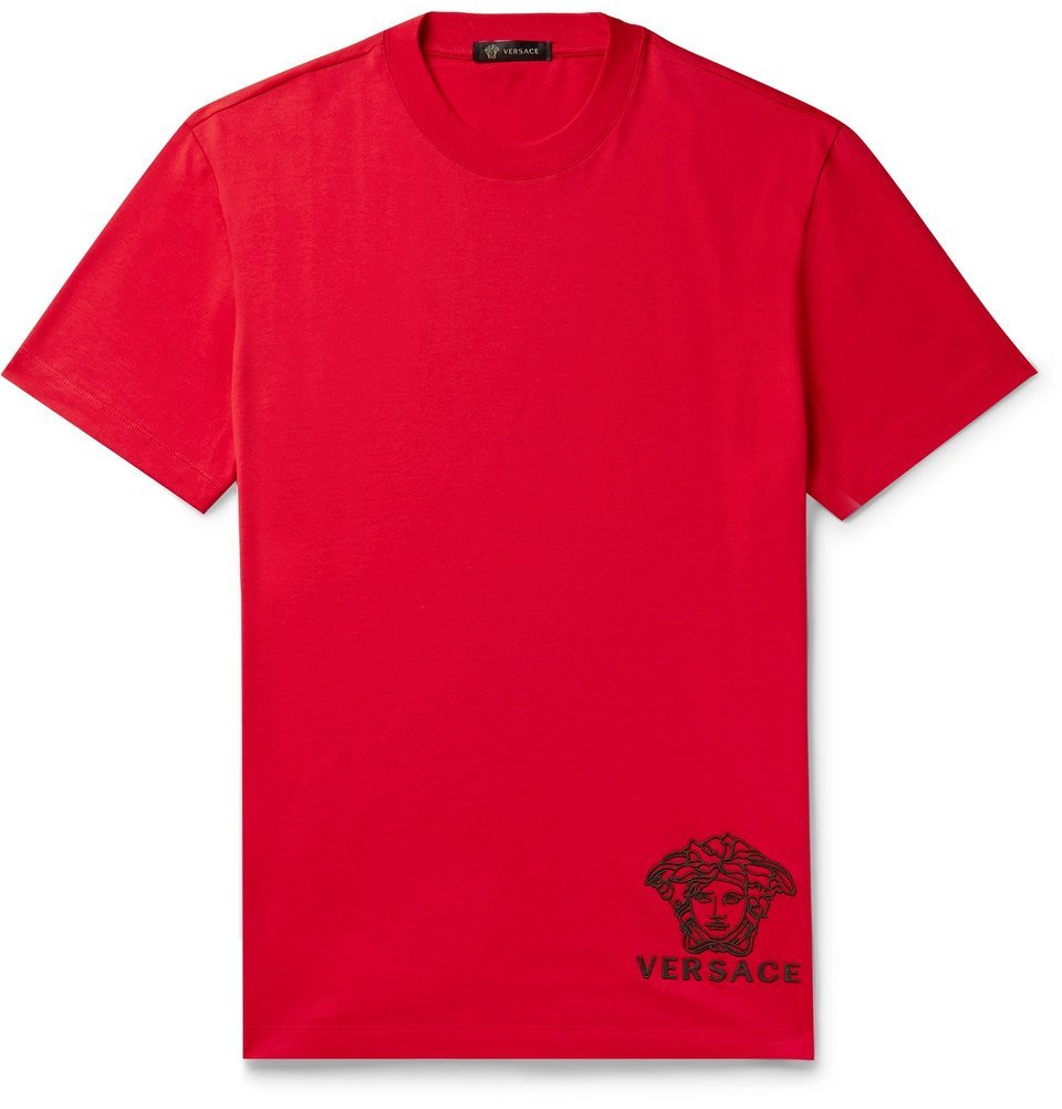 Photo: Versace - Logo-Embroidered Cotton-Jersey T-Shirt - Red