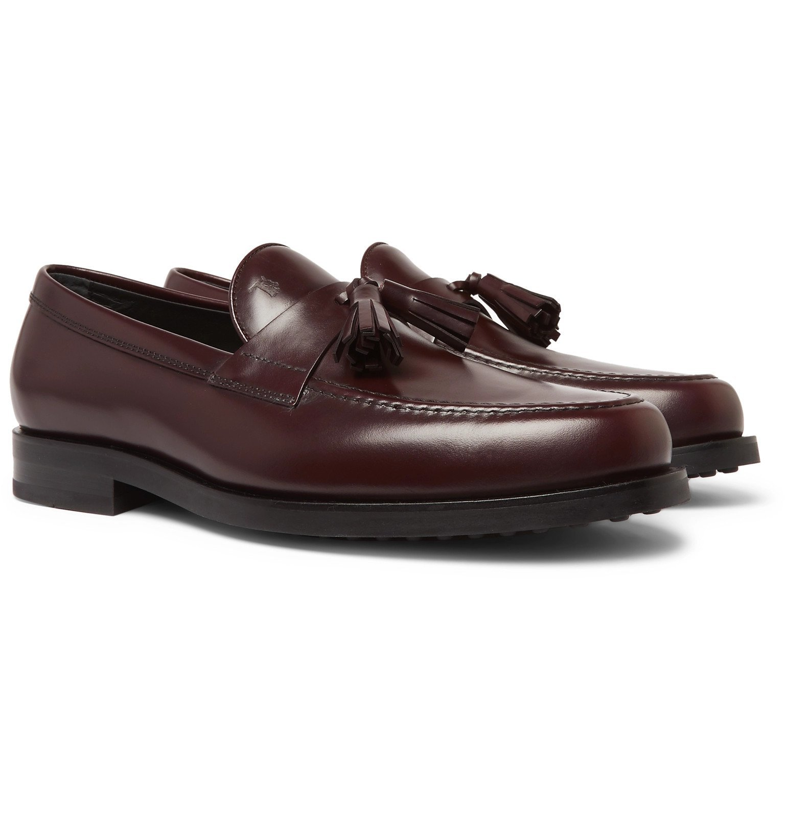Tod's - Polished-Leather Tasselled Loafers - Burgundy