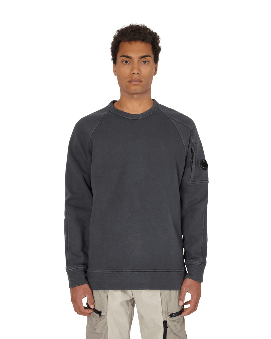 Photo: C.P. Company Diagonal Raised Fleece Lens Crewneck Sweatshirt Dark Fog Grey