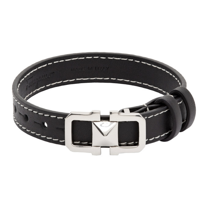 Photo: Salvatore Ferragamo Black Leather Bracelet