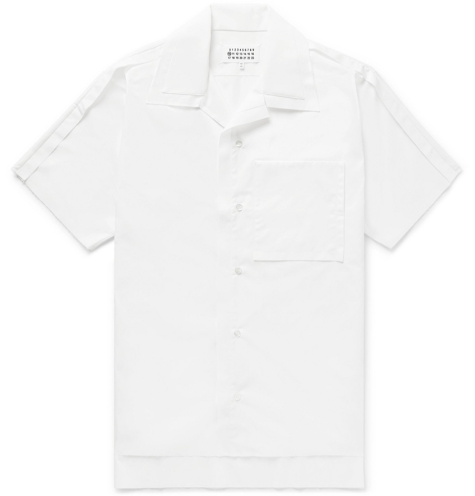 Photo: Maison Margiela - Camp-Collar Distressed Cotton-Poplin Shirt - White