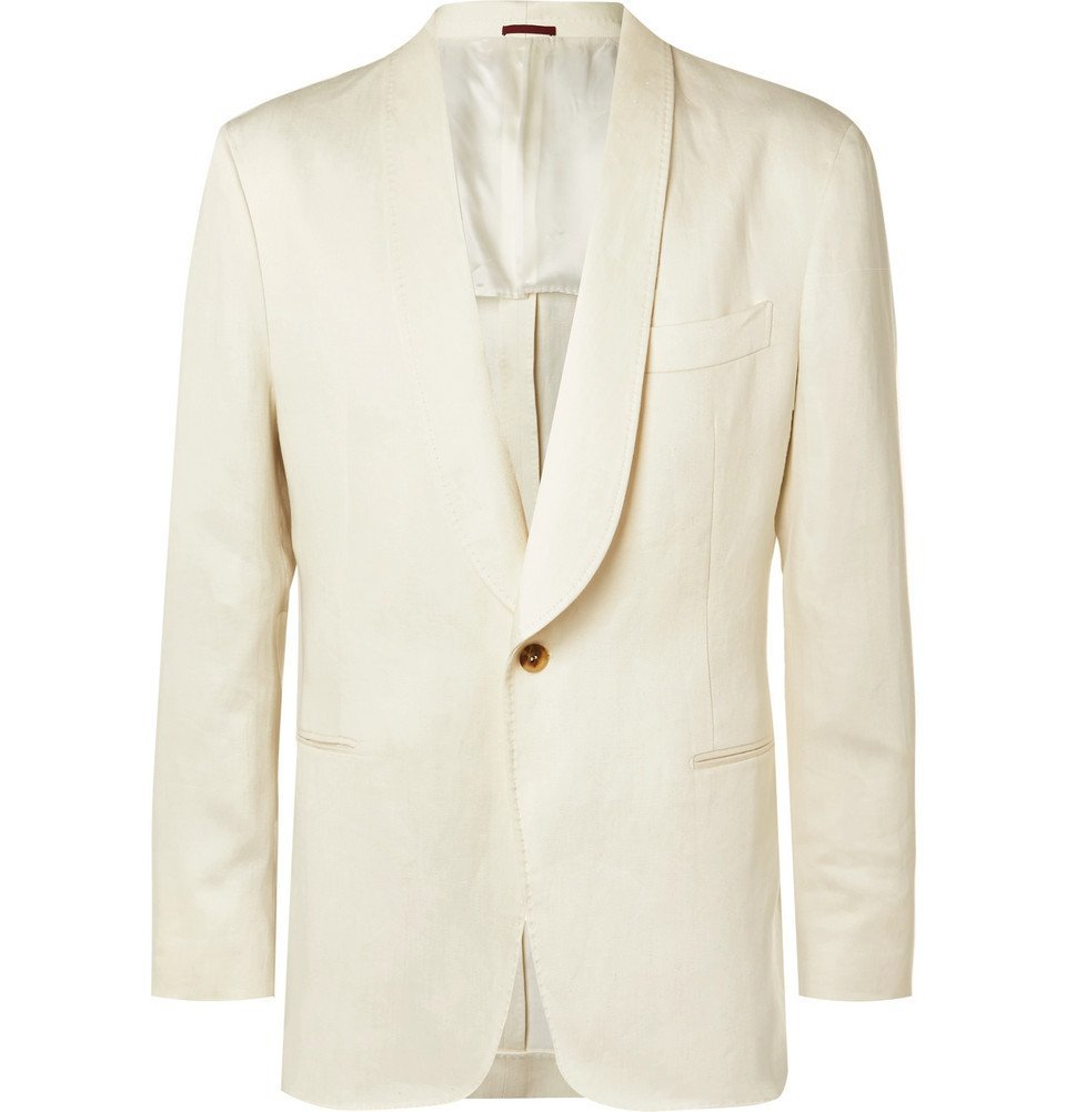 Photo: Brunello Cucinelli - Cream Unstructured Linen Suit Jacket - Cream