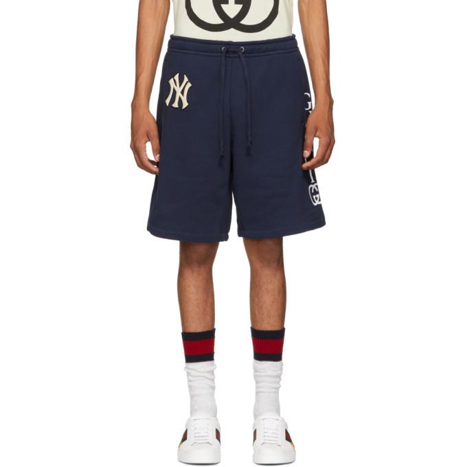 Photo: Gucci Navy NY Yankees Edition Patch Sweat Shorts
