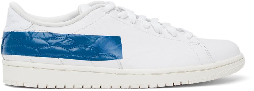 Photo: Nike Jordan White & Blue Air Jordan 1 Centre Court Sneakers