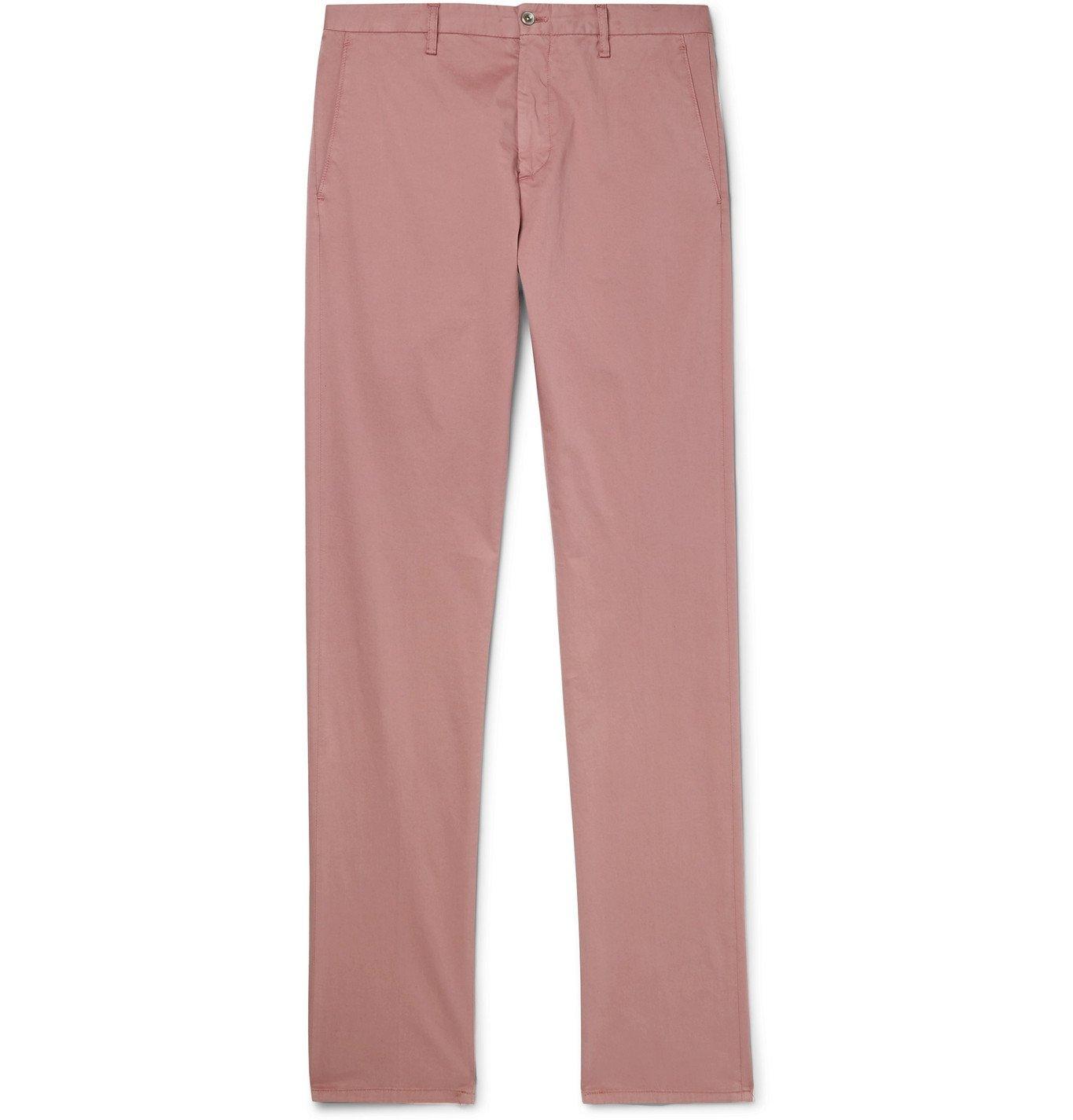 Photo: Zanella - Noah Slim-Fit Garment-Dyed Cotton-Blend Chinos - Pink