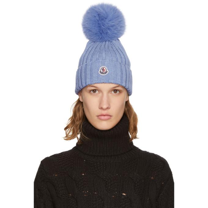Moncler Blue Fur Pom Pom Beanie Moncler 7443deabb2f