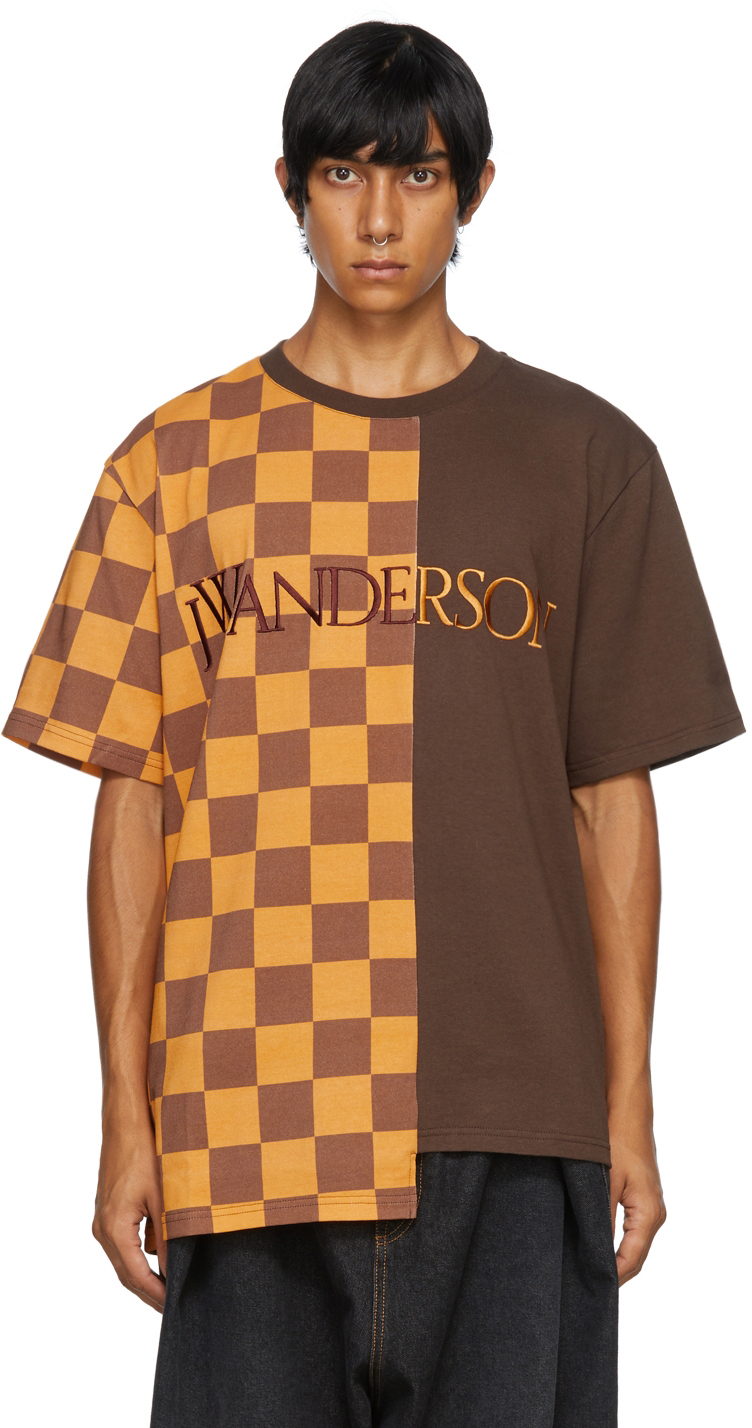 Photo: JW Anderson Brown Checkerboard Patchwork T-Shirt