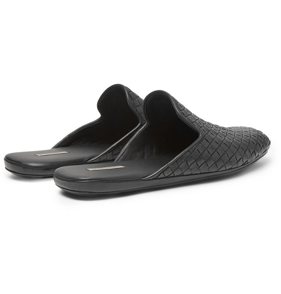 Bottega Veneta - Intrecciato Leather Backless Slippers - Men - Black