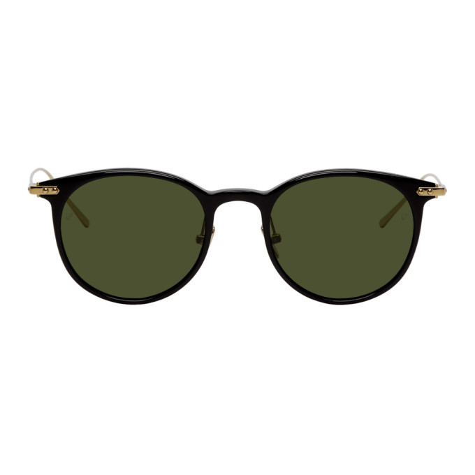 Photo: Linda Farrow Luxe Black and Gold Linear Childs C10 Sunglasses