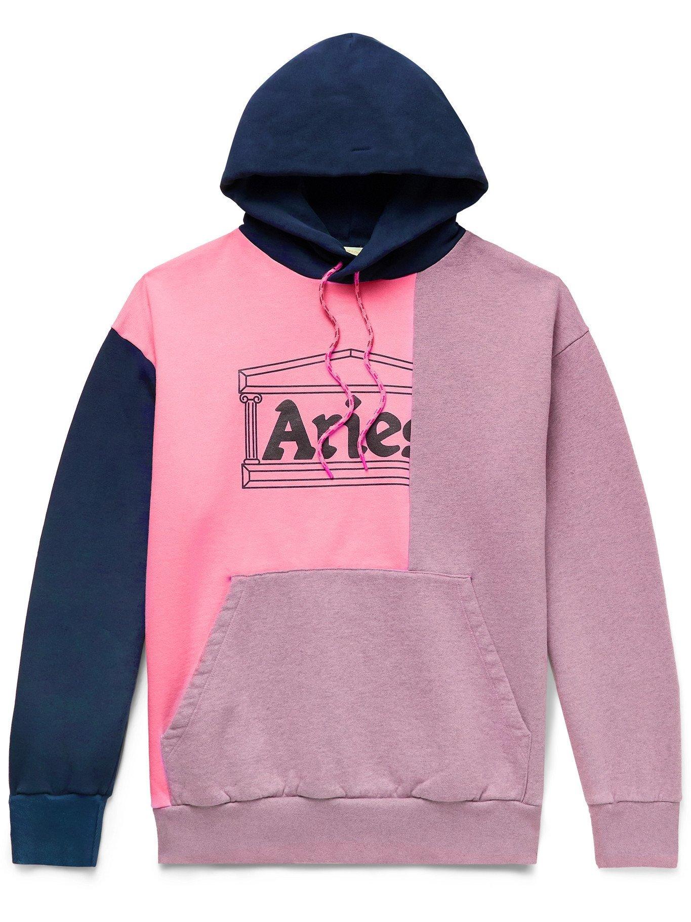 ARIES - Panelled Logo-Print Fleece-Back Cotton-Jersey Hoodie - Pink - XS