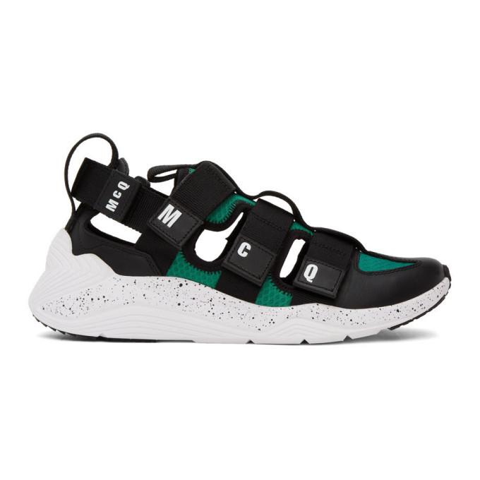 Photo: McQ Alexander McQueen Black and Green Tech Sandal 1.0 Sneakers